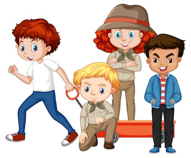 Quatro crianças em trajes diferentes