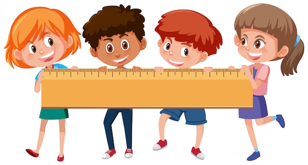 Quatro crianças, segurando, régua
