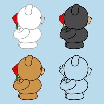 Quatro, cute, ursos, levantar a, segurando, a, rosa, em, mão