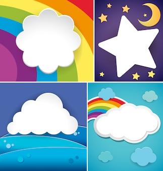 Quatro desenhos de bandeira com nuvens e arco-íris