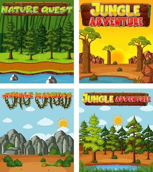 Quatro desenhos de fundo com tema da natureza