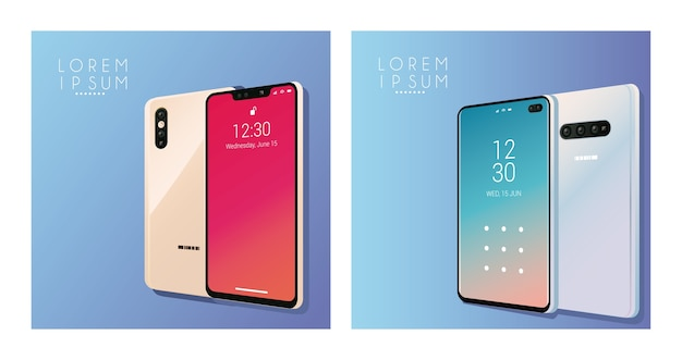 Quatro dispositivos de maquete de smartphones.