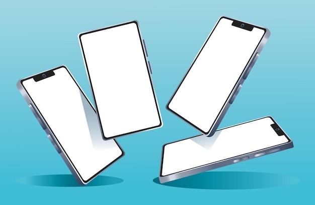 Quatro dispositivos smartphones com a marca em ilustração de fundo azul