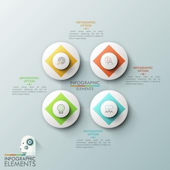 Quatro elementos circulares brancos com pictogramas de linha fina dentro rodeados por caixas de texto. elementos da interface do aplicativo web, quatro botões redondos.