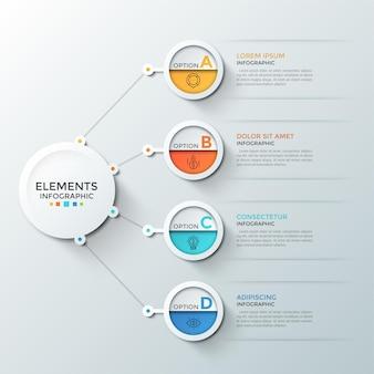 Quatro elementos circulares com ícones de linha fina e letras dentro, conectados ao círculo branco do papel principal. conceito de 4 etapas de desenvolvimento financeiro. modelo de design do infográfico.
