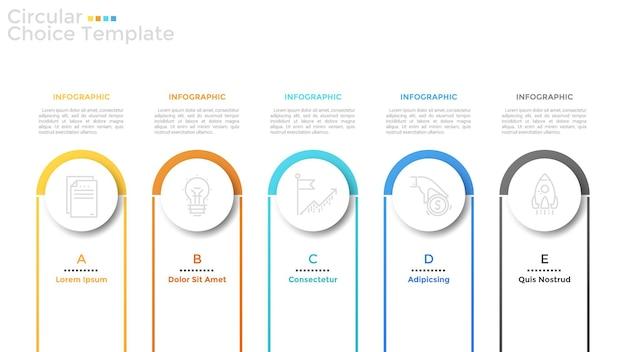 Quatro elementos circulares de papel branco com pictogramas de linhas finas dentro, arcos coloridos e caixas de texto dispostas em fileiras horizontais. modelo de design mínimo infográfico. ilustração vetorial para brochura.