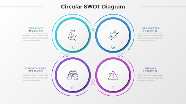 Quatro elementos circulares de papel branco com pictogramas lineares dentro e lugar para texto ou descrição. conceito de análise swot para empresa startup. modelo de design do infográfico. ilustração vetorial.