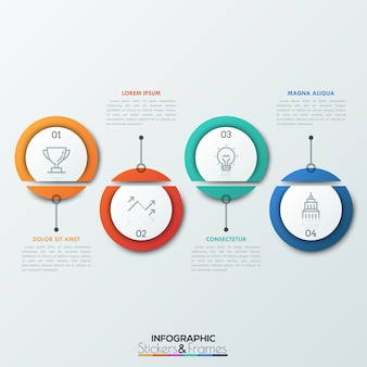 Quatro elementos circulares dissecados com pictogramas de linhas finas e números dentro.
