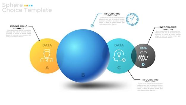Quatro elementos circulares translúcidos que se cruzam ou esferas de diferentes cores e tamanhos, letras, ícones lineares e lugar para texto. layout do projeto criativo infográfico. ilustração vetorial para brochura.