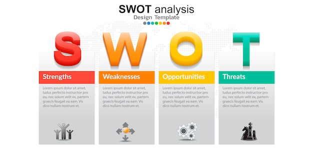 Quatro elementos coloridos com ícones para análise swot