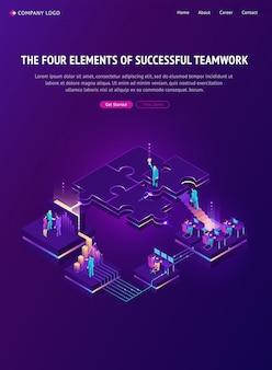 Quatro elementos da página de destino do trabalho em equipe bem-sucedido