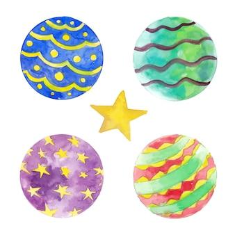 Quatro elementos de bola de natal para decoração