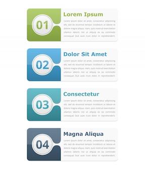 Quatro elementos de infográfico com lugar para títulos de números e texto