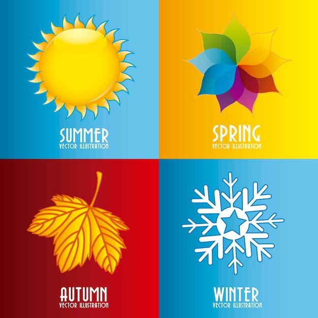 Quatro elementos de temporada sobre ilustração vetorial de fundo colorido