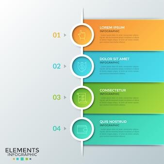 Quatro elementos redondos coloridos com pictogramas lineares dentro, números e caixas de texto colocados um abaixo do outro. conceito de lista ou plano de negócios em 4 etapas. layout do projeto infográfico.