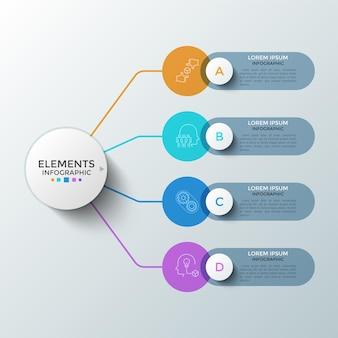 Quatro elementos redondos coloridos com símbolos lineares dentro e caixas de texto conectadas ao círculo principal. conceito de 4 etapas sucessivas de desenvolvimento de startups. modelo de design do infográfico. ilustração vetorial.