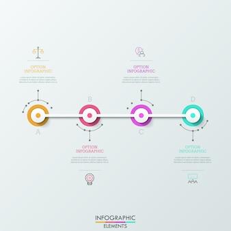 Quatro elementos redondos com letras conectados em linha horizontal, pictogramas lineares e caixas de texto. conceito de quatro etapas para o sucesso.