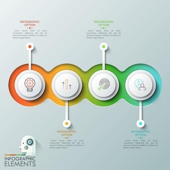 Quatro elementos redondos translúcidos sobrepostos com pictogramas lineares dentro colocados em linhas horizontais e caixas de texto. conceito de quatro etapas sucessivas para conclusão do projeto.