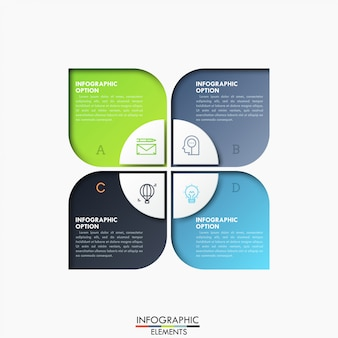 Quatro elementos retangulares com letras e círculo dividido em 4 setores no centro, ícones de linha fina e caixas de texto.