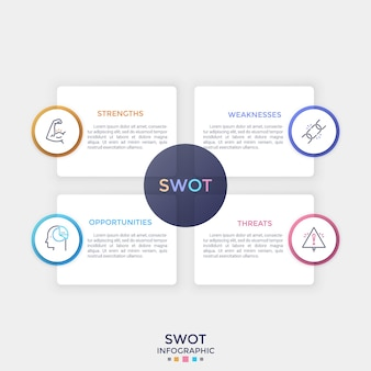 Quatro elementos retangulares de papel branco separados com lugar para texto dentro e símbolos de linha fina. conceito de análise swot. limpe o modelo de design do infográfico. ilustração vetorial para apresentação.