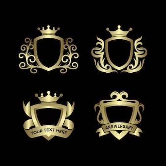 Quatro escudos de ouro estilo plano