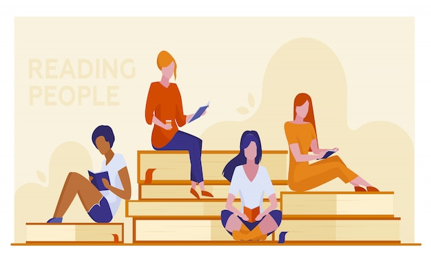 Quatro estudantes do sexo feminino lendo livros
