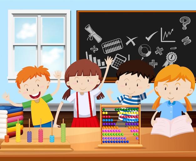 Quatro, estudantes, em, sala aula