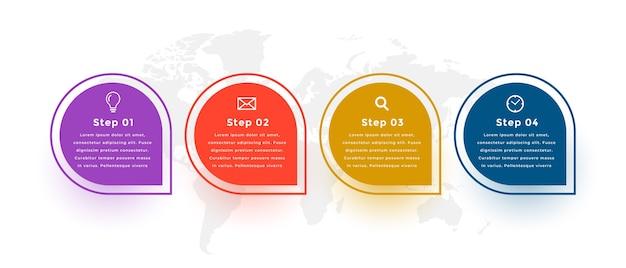 Quatro etapas de design moderno de modelo de infografia