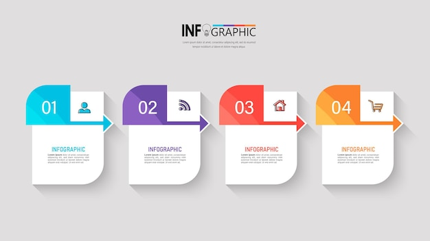 Quatro etapas infográficos de negócios