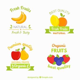 Quatro etiquetas de frutas em design plano