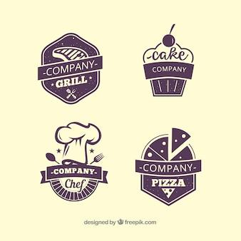 Quatro etiquetas de restaurante