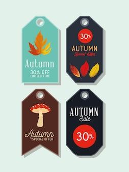 Quatro etiquetas de venda de outono