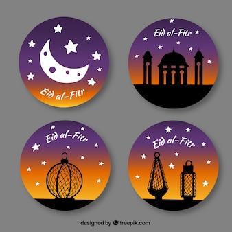 Quatro etiquetas redondas eid al fitr