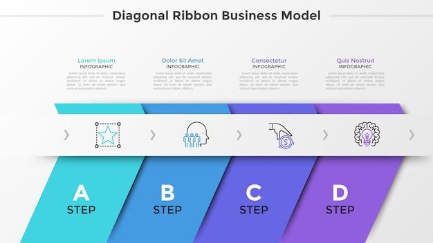 Quatro fitas diagonais coloridas, letras e ícones de linha fina dispostos em linha horizontal. conceito de 4 etapas sucessivas de desenvolvimento de startups. modelo de design moderno infográfico. ilustração vetorial.