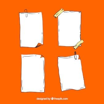 Quatro folhas de mão desenhada cadernos pacote