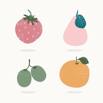 Quatro frutas coloridas pastel desenhadas à mão ilustração vetorial