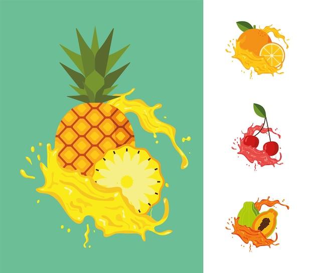 Quatro frutas respingando suco fresco