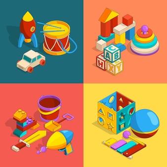 Quatro grupos temáticos de brinquedos infantis pré-escolares.