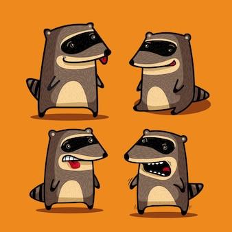 Quatro guaxinins engraçados em poses diferentes divertem os outros
