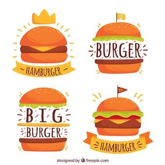 Quatro, hamburguer, logotipos, desenhado mão, estilo
