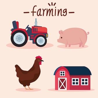 Quatro ícones de agricultura agrícola
