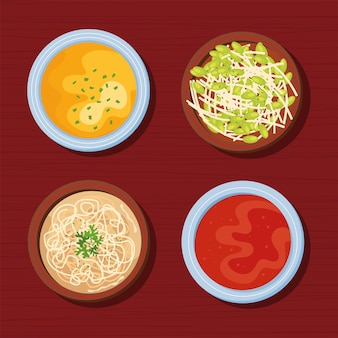 Quatro ícones de comida coreana