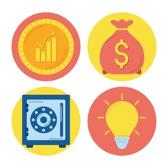 Quatro ícones de conjunto de dinheiro investido