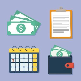 Quatro ícones de finanças pessoais