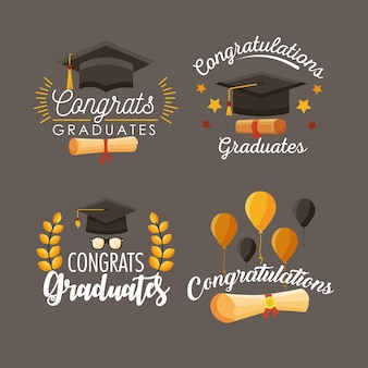 Quatro ícones de graduados de parabéns