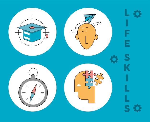 Quatro ícones de habilidades para a vida