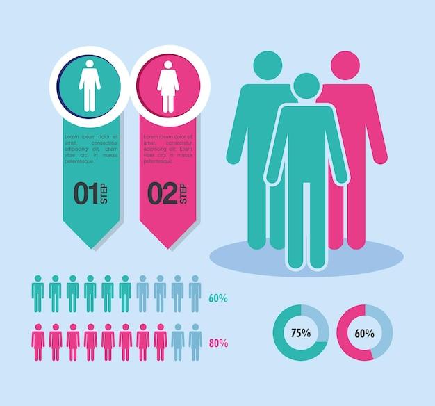 Quatro ícones de infográfico de população