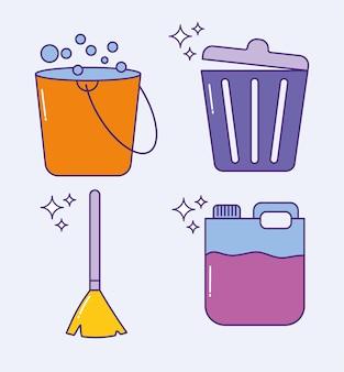 Quatro ícones de lavanderia