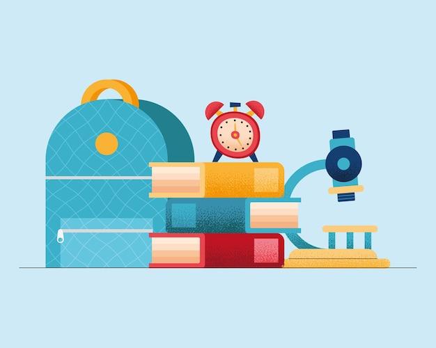 Quatro ícones de material escolar