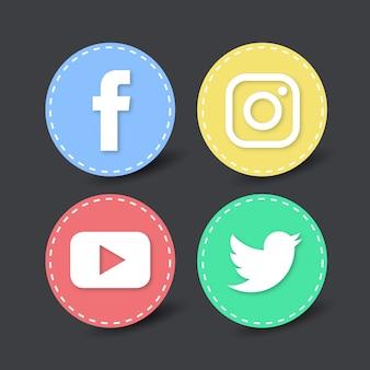 Quatro ícones de mídia social